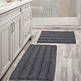 Grey Bath Mats for Bathroom Non Slip Ultra Thick and Soft Chenille Plush Striped Floor Mats Bath...