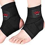 Ankle Brace, 2PCS Breathable & Strong Ankle Support for Sprained Ankle, Stabiling Ligaments, Prevent Re-Injury, Compression Ankle Support Brace with Adjustable Wrap (XL)