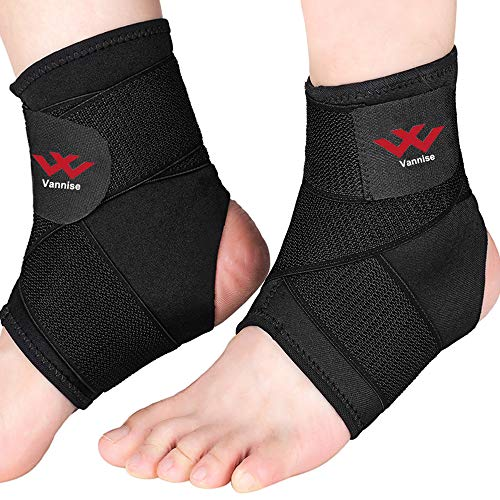 Ankle Brace, 2PCS Breathable & Strong Ankle Support for Sprained Ankle, Stabiling Ligaments, Prevent Re-Injury, Compression Ankle Support Brace with Adjustable Wrap (L)