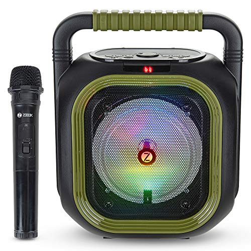 Zoook Rocker Thunder Bolt 30W Bluetooth Party Speaker with Wireless Karaoke Mic/TF/USB/AUX LED Lights, Green