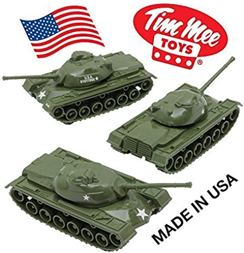 tienda TimMee verde Patton M48 Tank 3 Piece Playset  Military Military Military Vehicles for 2 inch (54mm) Plastic Army Men - Made in the USA  by Tim Mee  para proporcionarle una compra en línea agradable