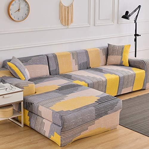 Fundas de sofá elásticas Impresas para Sala de Estar Funda de sofá Esquina en Forma de L Chaise Longue Sillón Sofá Funda A19 2 plazas
