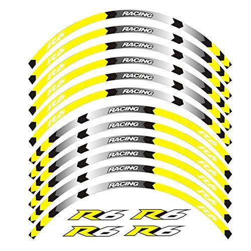 8 Color para Yamaha YZF R6 Motocicleta Vinilos de Rueda 17 Pulgadas Pegatinas Reflectantes Rim RIPES para YZF R6 Motorbike para YZF R6 (Color : A Yellow)
