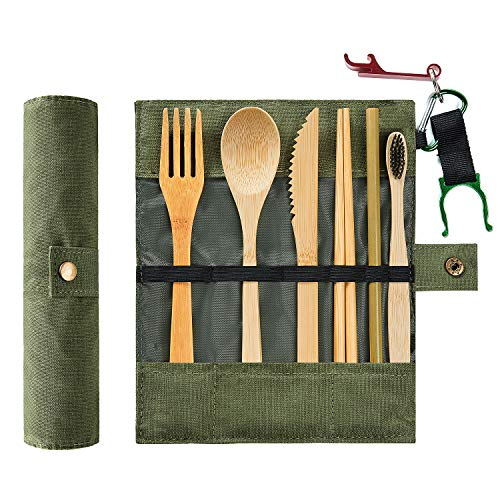 bamboo cutlery set with case