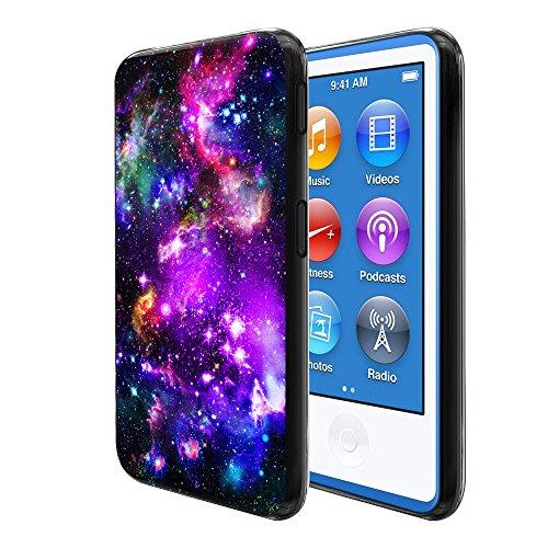 FINCIBO Case Compatible with Apple iPod Nano 7, Flexible TPU Black Silicone Soft Gel Skin Protector Cover Case for iPod Nano 7 (7th Generation) - Purple Marvel Nebula Galaxy