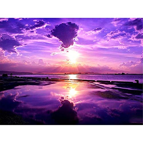 DIY 5D Diamond Painting by Number Kits, Diymood Painting Purple Sunset Sea Level Paint with Diamonds Arts Full Drill Canvas Picture for Home Wall Decor 30x40cm(12x16inch)
