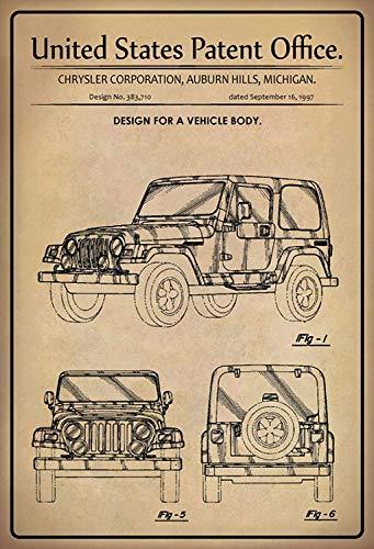 NWFS Patent Design Auto SUV blikken bord metalen plaat plaat metalen plaat plaat plaat Metal Tin Sign gewelfd gelakt 20 x 30 cm