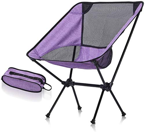 Sillas plegables portátiles ultraligeros de aluminio al aire libre silla de Luna aleación con bolsa de transporte Capacidad acampar sillas plegables sillas de playa (Color: Púrpura + net negro), Color
