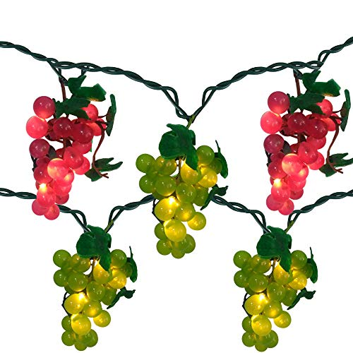 5-Count Red and Green Grape Cluster String Light Set, 6ft Green Wire