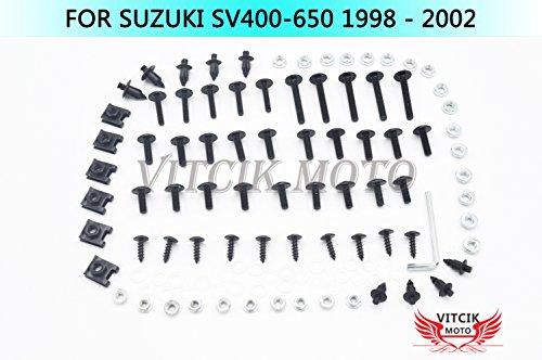 VITCIK Kits de boulons pour moto SV400 650 1998 1999 2000 2001 2002 SV 400 650 98 99 00 01 02 attaches aluminium CNC (Noir & Argent)