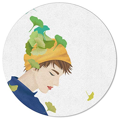 Meet 1998 Round Area Rugs Leaves with Handsome boy Fall Decor Non-Slip Home Decor Indoor Children Playroom Kitchen Bedroom Living Floor Mats 5ft(60in)