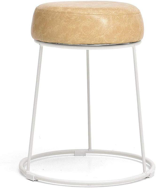 Upholstered Footstool Creative Ottoman Leather Stool Wrought Iron Stool Sofa Stool Dining Stool Adult Stool Makeup Stool 5 Colors