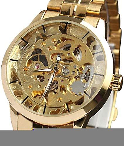 JDHFKS Relojes mecánicos para hombre, esqueleto de acero inoxidable, reloj de pulsera de 22 cm