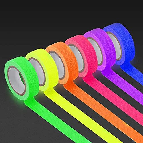 Fluoreszierendes Neon Klebeband, 6-Rollen UV Gewebeband Tape (5m x15mm) Schwarzlicht Bunte Gewebeband für Handwerk Partydeko Weihnachtsdeko