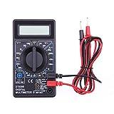 Asiproper DT830B - Medidor de multímetro digital LCD (voltímetro, amperímetro), negro