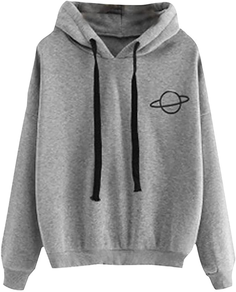 Haheyrte Hoodies for Womens Teen Girls Long Sleeve Planet Print Crop Casual Loose Hooded Sweatshirts Pullover Shirts