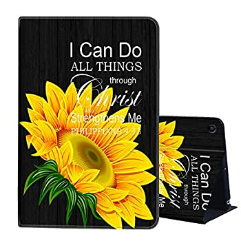 Case for Kindle Fire 7 Case 2019 2017 Release AIRWEE PU Leather Slim Folding Stand Shell Cover with Auto Wake/Sleep for Amazon Kindle Fire 7 inch Tablet  9th/7th Gen ,I Can do All Things Christ