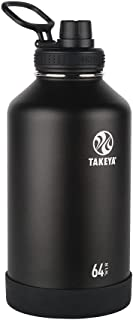 Takeya 51110 Actives Insulated Stainless Steel Water Bottle with Spout Lid, 64 oz, Onyx