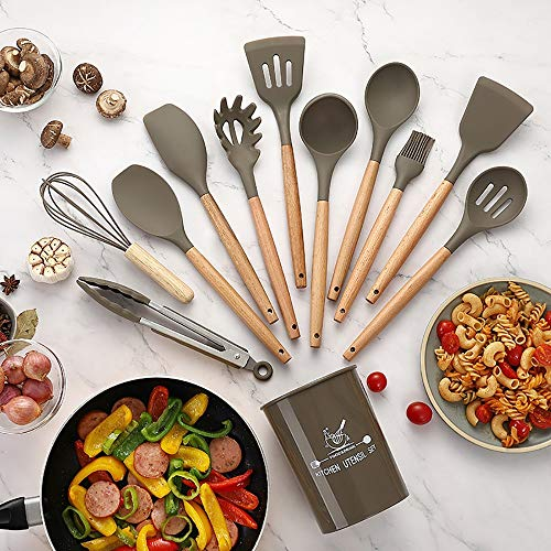 RYDZTMZ Non-Stick Silicone Cookware, Silicone Kitchen Utensils with Wooden Handle (Size : B)