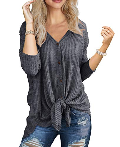 IWOLLENCE Womens Loose Henley Blouse Bat Wing Long Sleeve Button Down T Shirts Tie Front Knot Tops Dark Gray Medium