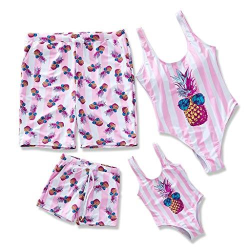 IFFEI Family Matching Swimsuit Pineapple Printed Striped Monokini One Piece Bathing Suit Beach Wear Girls: 6-7 Years Pink