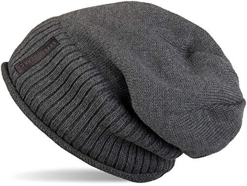 styleBREAKER warme Feinstrick Beanie Mütze mit sehr weichem Fleece Innenfutter, Unisex 04024065, Farbe:Dunkelgrau