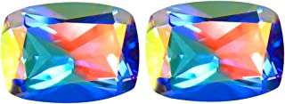 3.27 ct (2pcs) MATCHING PAIR Cushion Shape (8 x 6 mm) Mercury Mystic Topaz Natural Gemstone