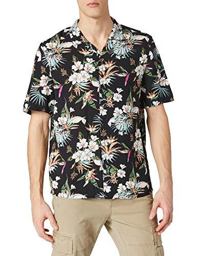 Urban Classics Herren Viscose AOP Resort Shirt, Hawaii-Hemd mit Blumenprint und umgeschlagenem Kragen für Männer, Größen S-5XL, blacktropical, L