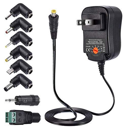 ZOZO 12W Universal AC Adapter Switching Power Supply 3V 4.5V 5V 6V 7.5V 9V 12V, Selectable Tips for Household Electronics Routers LED Strips Cameras USB HUB Android Tablets