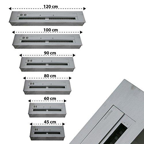 Regulierbare doppelwandige Edelstahl Brennkammer Größe wählbar 45cm / 60cm / 80cm / 90cm / 100cm / 120cm inklusive Schieber & Keramikschwamm für Bioethanol Kamin / Gelkamin (45.00)
