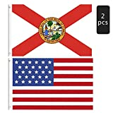 2 Pieces American Flag and Florida State Flag,Flag of United State the Stars and the Stripes,State of Florida Flag,Sunshine State Flag for Patriotic,Outdoor Indoor Decoration Banner, 3x5 Feet