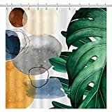 SHENGJUN 72x72 Abstract Leaf Boho Shower Curtains for Modern Bath Bathroom Decors Botanical Aesthetic Tropical Leaves Plants Contemporary Artistic Home Fabric Waterproof Shower Curtain with 12 Hooks