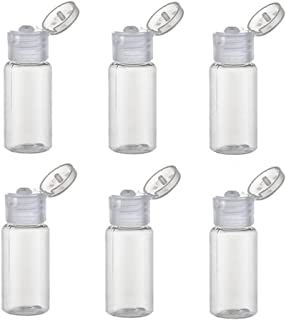 0.5 oz Plastic Travel Squeeze Bottle with Flip Cap Sample Container for Makeup Emollient Water Shower Gel Emulsion Liquid Empty Refillable Portable,Pack of 6(Clear)
