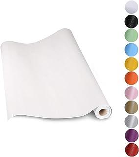 KINLO Papel Pintado Pared Blanco 0.61*5M per Rollo Autoadhesivo Dormitorio Moderno de PVC para Decorar y Proteger  Pegati...