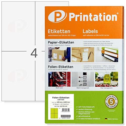 Etiketten 105 x 148,5 mm WETTERFEST weiß matt auf DIN A4 Bogen - 2 x 2 Stück/Seite - 40 Folienetiketten 105x148,5 selbstklebend bedruckbar mit Laser Drucker