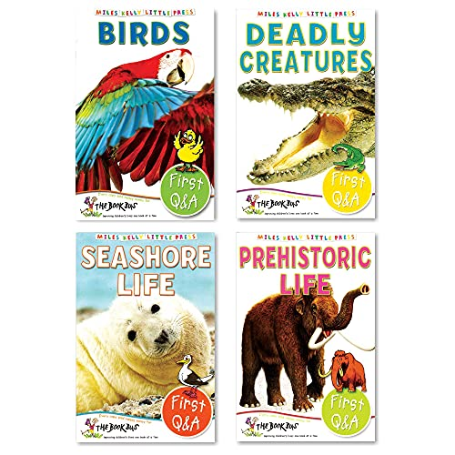 Encyclopedia Books for Kids - Set of 4 Books (Birds, Deadly Creatures, Seashore Life & Prehistoric Life)   Little Book First Q & A  Age 5-8 Years