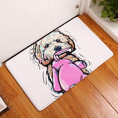 Nunbee Designer Fußmatte Anti Rutsch Unterlage Wasseraufnahme Teppich Praktische Schmutzfangmatte Haustür Flur Innenbereich Aussen Lustig Waschbar Weihnachten Katze, Hund 16 40 * 60cm