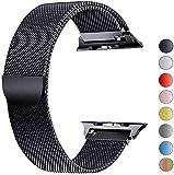 VIKATech Bracelet de Remplacement Compatible avec Apple Watch Bracelet 44mm 42mm 40mm 38mm, Bracelets de Rechange Smartwatch avec Aimant compatibles avec iWatch Series 6/5/4/3/2/1 (42mm/44mm, Noir)