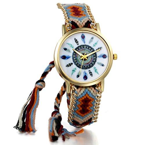 JewelryWe Boho Reloj De Pulsera Étnica De Mujeres, Marrón Rojo Cuerda De Tela Tejida, Reloj Trenzado De Hilos Ajustable, Plumas Indigenas, Regalo para el Dia de la Madre, Regalo para Chica
