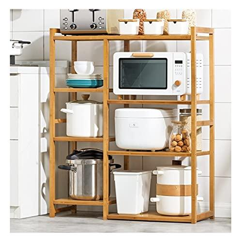 GZZG Estantes de la Cocina con el cajón del gabinete de bambú de 4 Niveles Estante de Almacenamiento de Gran Capacidad de 4 Niveles Estante de microondas Organizador de Especias, fácil de Montar