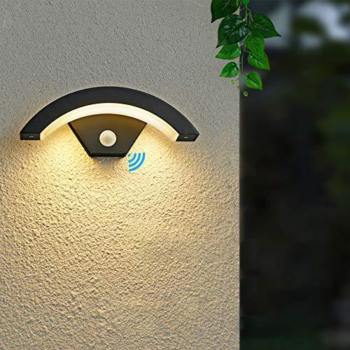 SENQIU Luz Exterior con Sensor de Movimiento, Gris Antracita 24w 980lm 3000k, Ip54, Lámpara de Exterior de Aluminio Porche de Villa, Pasillo, Balcón, Jardín