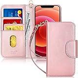 FYY iPhone 12 Max/12 Pro 5G 6.1インチ用ケース [キックスタンド機能] 高級PUレザーウォレットケース フリップフォリオカバー [カードスロット] と [ノートポケット] Apple iPhone 12 Max/12 Pro 5G 6.1インチ用 ローズゴールド