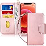 FYY Compatible with iPhone 12 Case/iPhone 12 Pro Case, [Kickstand Feature] Luxury PU Leather Wallet Case Flip Folio Cover with [Card Slots] and [Note Pockets] for iPhone 12/12 Pro 5G 6.1' Rose Gold