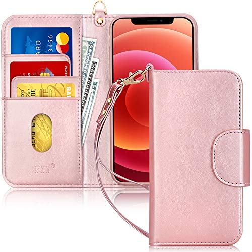 "FYY Case Compatible for iPhone 12 /iPhone 12 Pro 6.1"", [Kickstand Feature] Luxury PU Leather Wallet Case Flip Folio Cover with [Card Slots] and [Note Pockets] for iPhone 12/12 Pro 5G 6.1"" Rose Gold"