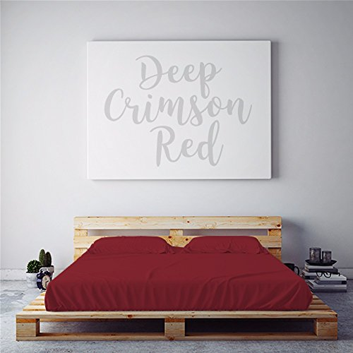 PeachSkinSheets Night Sweats: The Original Moisture Wicking, 1500tc Soft Queen Sheet Set Deep Crimson Red