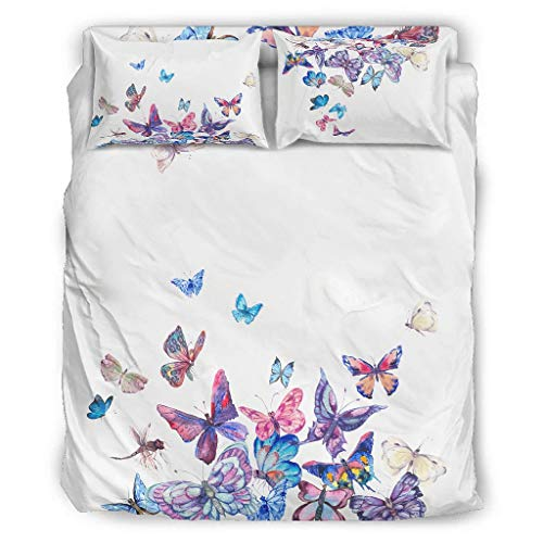 DAMKELLY Store Soft All Season Duvet Cover - 4 Piece Duvet Cover for Girls Bedroom White 175 x 218 cm
