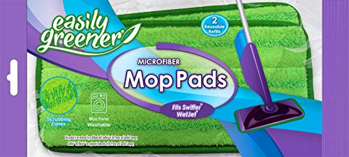 Swiffer WetJet Compatible, Microfiber Mop Pads by Easily Greener, Reusable Refills, Fits Wet Jet, 2 Count