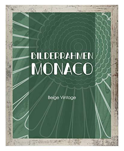 Homedeco-24 Monaco MDF Bilderrahmen ohne Rundungen 60 x 85 cm Größe wählbar 85 x 60 cm Beige Vintage Shabby Chic mit Acrylglas klar 1 mm
