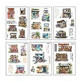 AIUIN 6X Ephemera Set Notizsticker im Stil von Zeichentrickmaterial DIY Aufkleber Japan Mädchen/Junge Sticker für Kinder Deko Sticker (Style 1) -