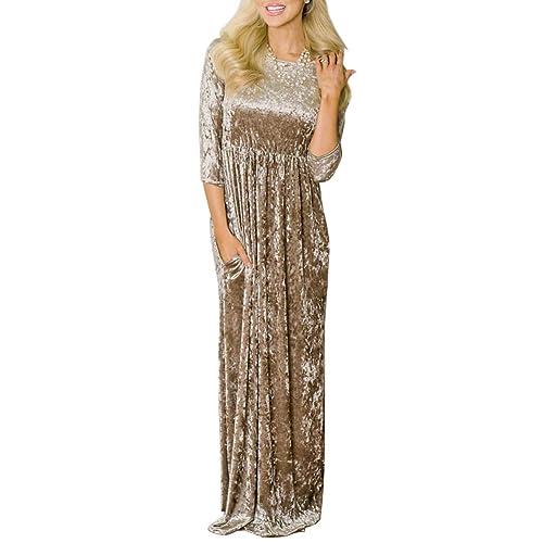 7113959274619 For G and PL Women s Velvet 3 4 Sleeve Maxi Dresses with Pocket